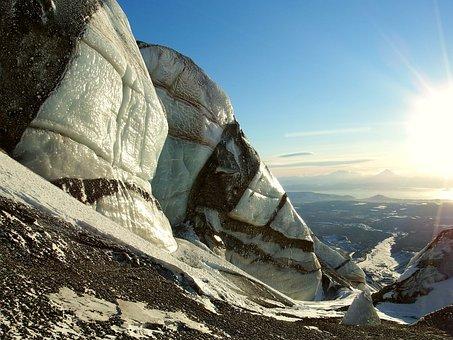 Glacier, Volcano, Blocks, Kamchatka