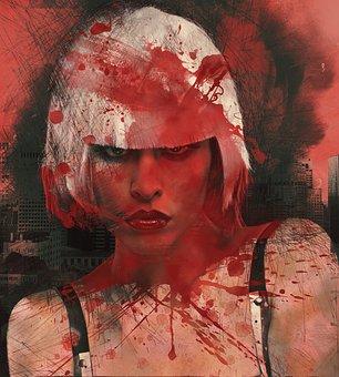 Woman, Painting, Grunge, Modern, Collage