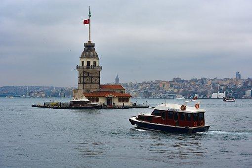 Boat, Building, Istanbul, Cityscape, Leandertoren