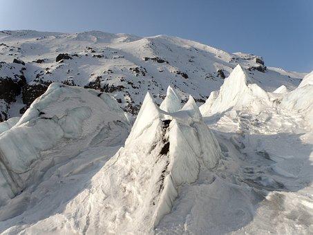 Glacier, Volcano, Blocks, Kamchatka, Kozelsky Volcano