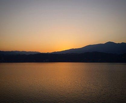 Lago Maggiore, Lake, Sunset, Waters, Landscape, Sun