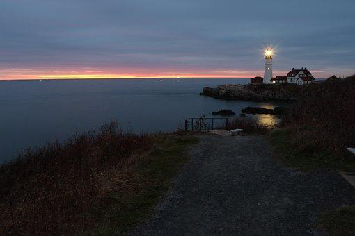 Water, Sea, Seashore, Sunrise, Landscape, Lighthouse