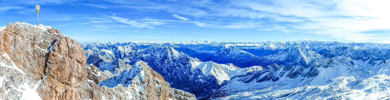 Panorama, Panoramic Image, Snow, Frost, Cold, Mountain