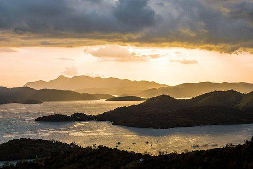 Sunset, Water, Dawn, Panoramic, Nature, Coron, Palawan