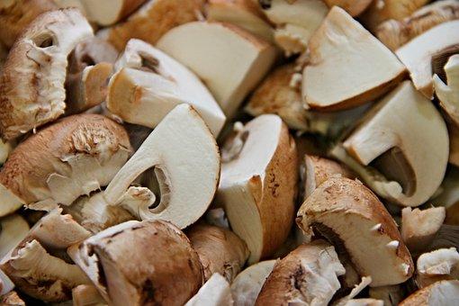 Mushrooms, Cut, Pieces, Brown, Cultivated Mushrooms
