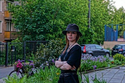 Garden, Outdoors, Summer, City, Girl, Portrait, Cap