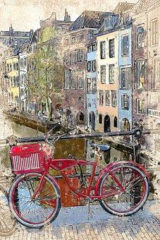 Utrecht, Red Bike, City, Channel, Tourism, Tour, View