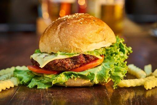 Burger, Meat, Bread, Potato, Table, Restaurant