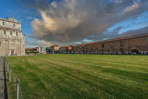 Grass, Outdoors, Panoramic, Sky, Architecture, Pisa