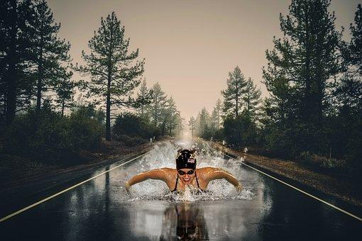 Swimmer, Sport, Road, Wet, Strange, Asphalt