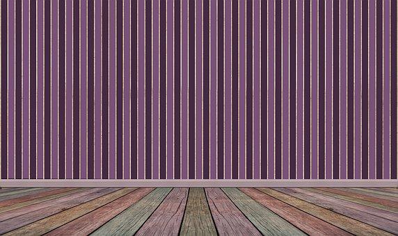 Space, Empty, Wood Floor, Wallpaper, Striped