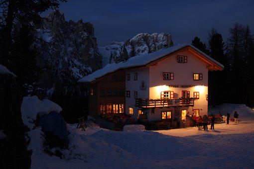 Snow, Wood, Home, Winter, Italy, Alpine, Rose Garden