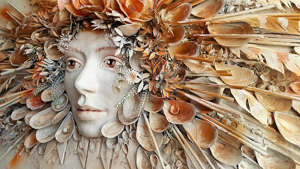 Collage, Art, The Statue Of, Shell, Gold, White