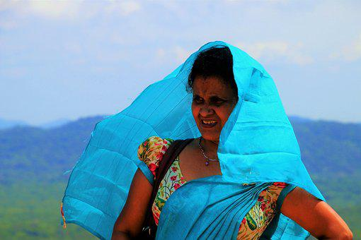Sri Lanka, Blue, Shawl, Wind, At The Court Of, Nature