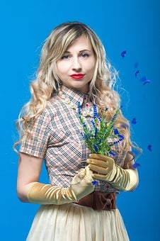 Flowers, Plaid Shirt, Gloves, Blonde, Spring, Bouquet