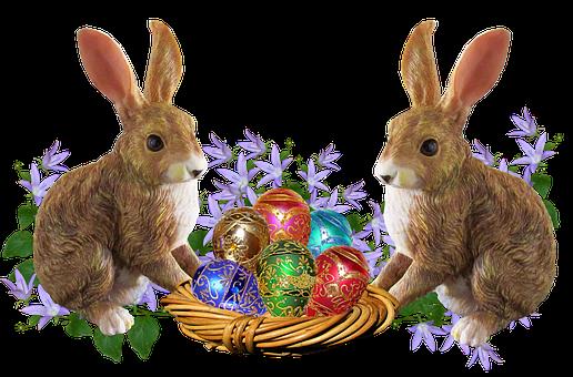 Easter, Rabbits, Eggs, Basket