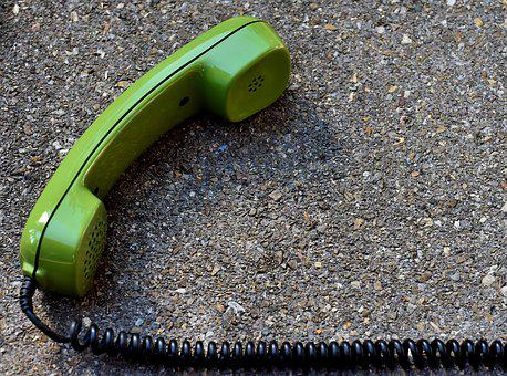 Telephone Handset, Phone, Old, Cable, Eighties, Green