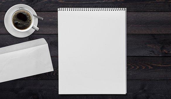 Writing Pad, Envelope, Coffee, Table, Write, Message