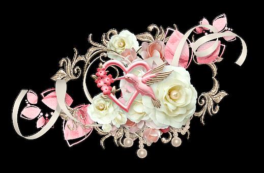 Cluster, Heart, Bird, Hummingbird, Rose, White, Pink