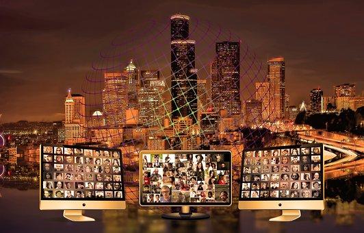 City, Skyline, Community, Social, Media, Monitor