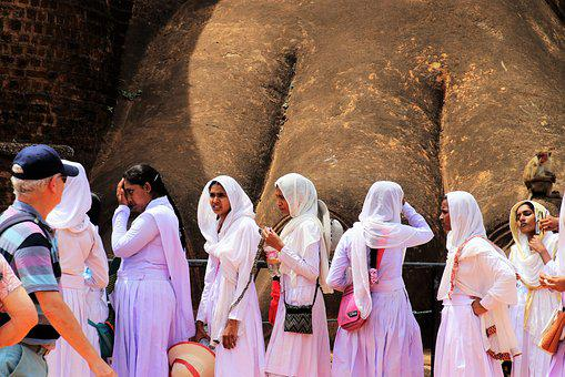 The Queue, Rock, Sigiriya, Lion Rock, Woman, White, Www