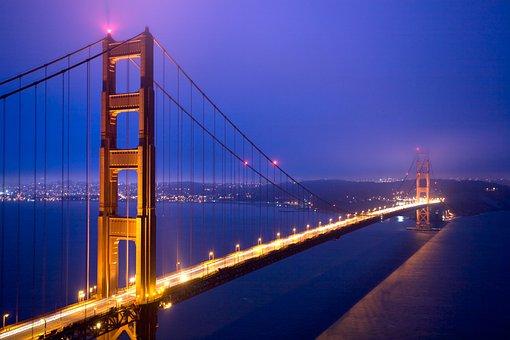 Bridge, Dusk, Sky, Suspension Bridge, Architecture