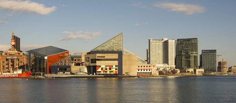 Water, Architecture, Panoramic, City, Modern, Baltimore