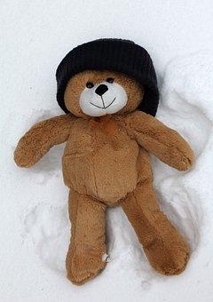 Snow Angel, Teddy, Toy, Winter, Bear, Woolly Hat