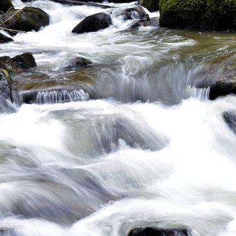 Body Of Water, Cascade, River, Blur, Roche, Landscape