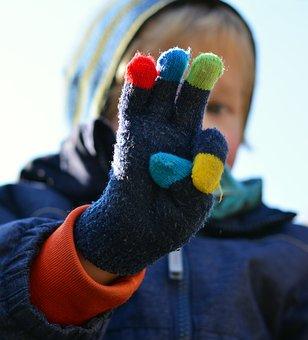 Glove, Finger, Hand, Color, Child, Three, Show