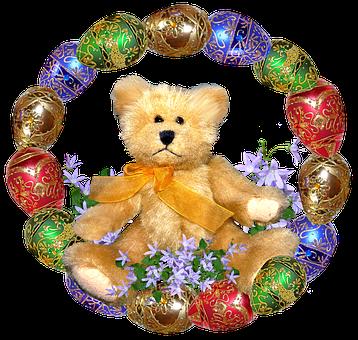 Easter, Eggs, Frame, Teddy Bear
