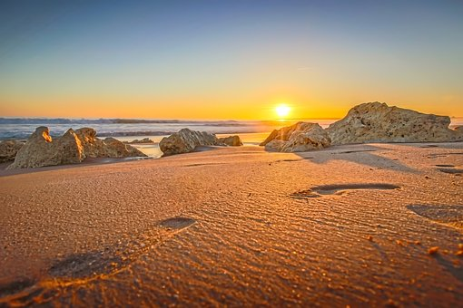 Sunset, Sand, Foot, Feet, Nature, Water, Sky, Beach