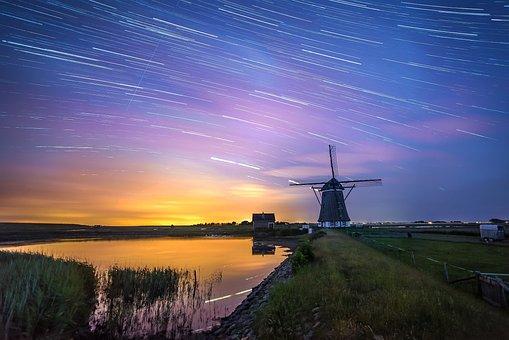 Windmill, Night, Mill, Wind, Long Exposure, Netherlands