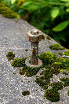 Nut, Bolt, Threads, Bracket, Old, Mossy