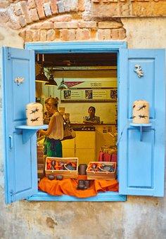 Door, Shop, Store, Asian, Cambodia, Shopping, Blue