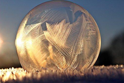 Ice Crystal, Soap Bubble, Frozen Bubble, Frost Blister
