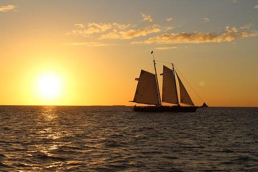 Sunset, Water, Sea, Ocean, Sailboat, Dusk, Summer