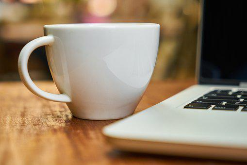 Coffee, Cup, Glass, White, Computer, Laptop, Espresso