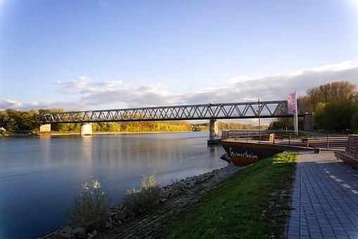 Rhine, River, Bank, Sky, Clouds, Blue Mood, Sun, Sunny