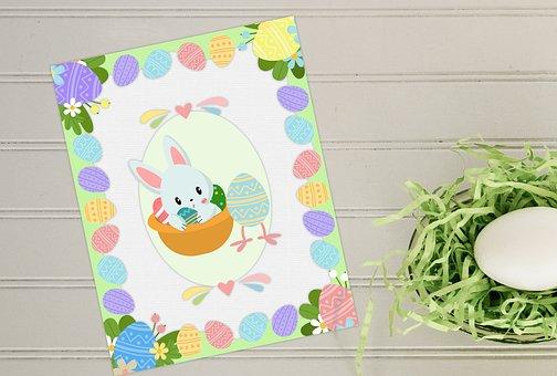 Celebration, Card, Desktop, Easter, Bunny, Eggs, Egg