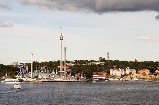 Water, City, Sea, Harbor, Panoramic, Stockholm