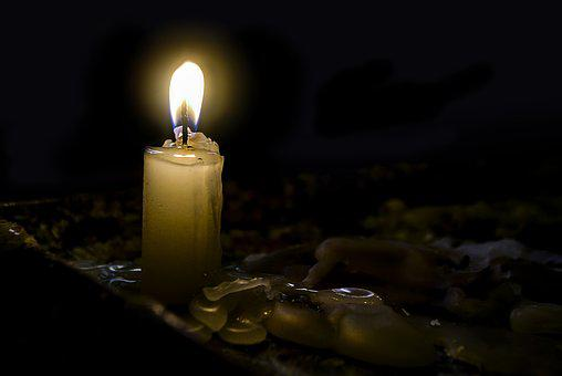 Light Of A Candle, Darkness, Flame, Burned, Wax