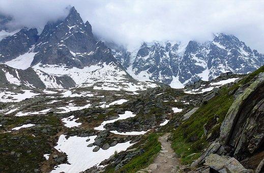 Nature, France, Alps, Mountain, Snow, Panoramic, Top