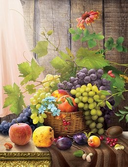 Fruit, Basket, Food, Vine, A Bunch Of Still Life