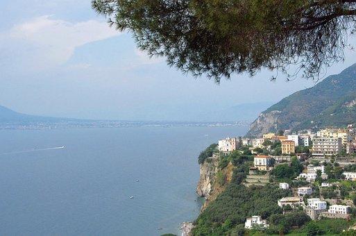 Italy, Sorrento, Gulf, Naples, Village, Cliff, Side