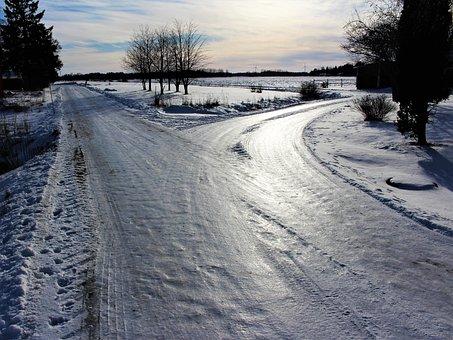 Road, Crossroads, Winter, Snow, Frozen, Ice, Frost
