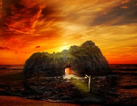 Sunset, Dusk, Dawn, Evening, Landscape, Cave, Sea