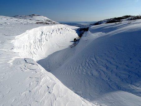 Mountains, Depression, Yama, Pit, Snow, Cornice, Namet