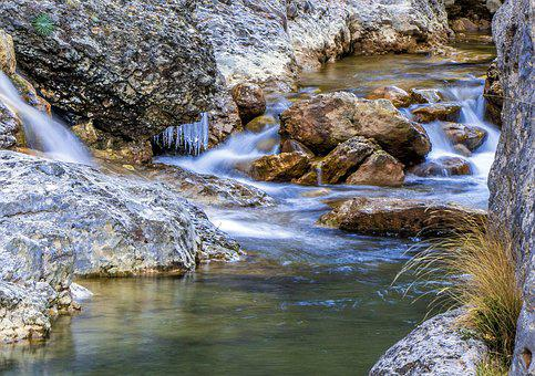 Body Of Water, Nature, River, Waterfall, Rock, Flow