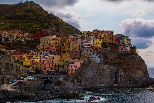Travel, Architecture, Panorama, Coast, Sea, Italy